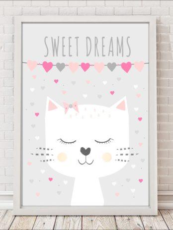 Plakat Kotek sweet dreams w serduszkach