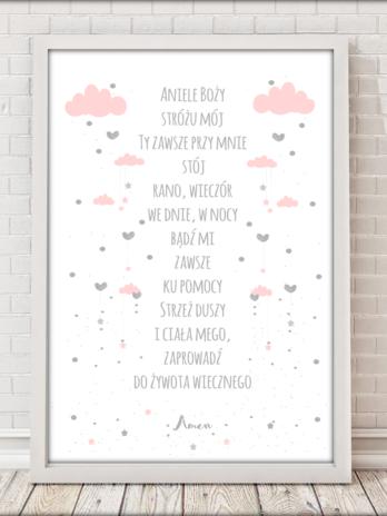 Modlitwa Aniele Boży różowe chmurki na białym tle