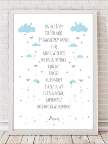 Modlitwa Aniele Boży błękitne chmurki na białym tle