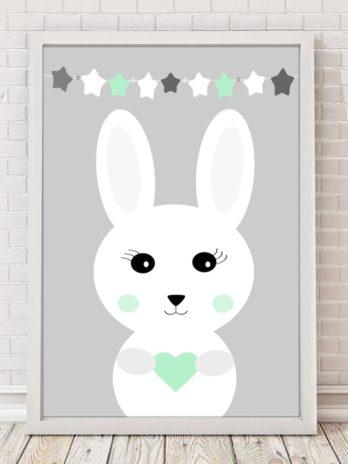 Plakat Króliczek w miętowych gwiazdkach