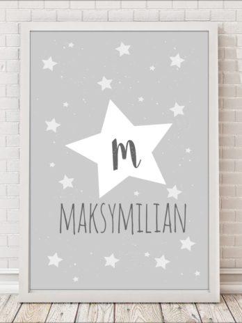 Plakat personalizowany Gwiazdka na szarym tle