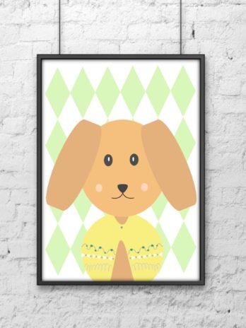 Plakat dla dzieci Pies w rombach