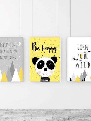 TRYPTYK/Zestaw obrazków Be happy!