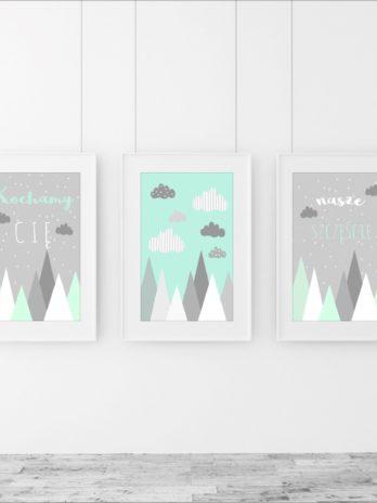 TRYPTYK/Zestaw obrazków dla dzieci Miętowe góry