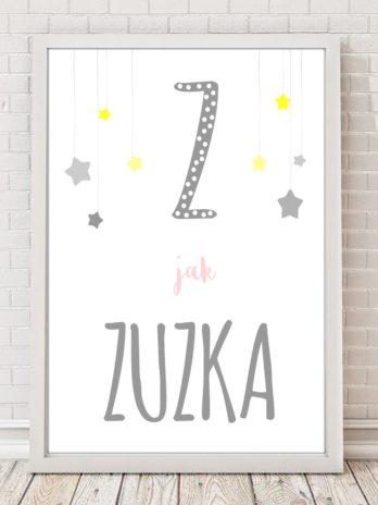 Plakat personalizowany z wiszącymi gwiazdkami żółto-różowo-szary
